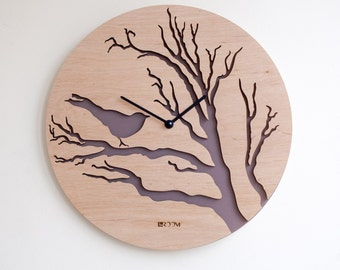 modern wall clock owl large wall clock wooden clock by lines4room. Black Bedroom Furniture Sets. Home Design Ideas