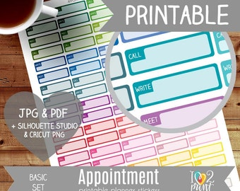Appointment Printable Planner Stickers, Erin Condren Planner Stickers, Basic Planner Stickers, Call/ Write/ Meet Printable Stickers