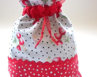 Spots & Strawbs Cotton Drawstring Bag