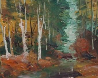 Vintage post impressionist oil painting forest landscape signed