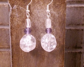 Silver earrings with glass beads
