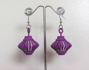 Twirlagog -- Purple 3D Printed Earrings (they spin!)