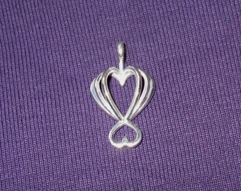 Sterling Silver Heart Pendant Made with 3D Printing Technology - Chain Included
