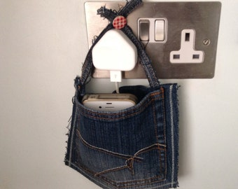 iPhone, Smart Phone , iPod Touch Docking Station, Mobile/Cell Phone Charging Station, Travel Charging Pocket, Upcycled Denim, Shabby Chic