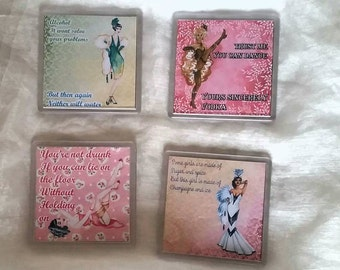 Pin up girl burlesque style coasters set of four