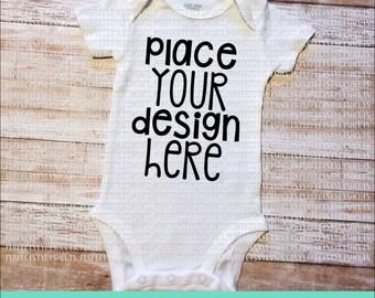 White Baby Bodysuit Short Sleeve - MOCK-UP Image, JPEG File, for Product Display, Blank Bodysuit Image