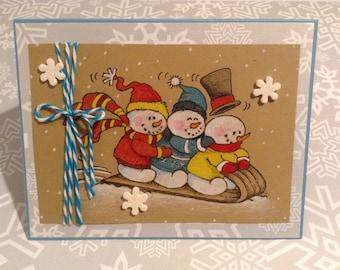 Snowmen Sledding, Winter Note Card