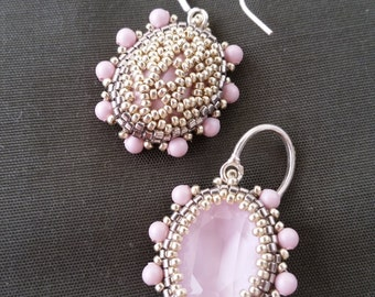 Pale pink earrings with oval Swarovski crystal