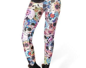 Digital Printed Sugar Skull Leggings, Festival Wear, Hippie Clothes, Meditation, Gypsy, Yoga pants, Boho Leggings, colorful Leggings