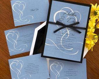 Flourished Double Hearts Invitation Set - Digital Invitation Suite - Digital Wedding Invite - Custom Wedding Invitations - AV1600