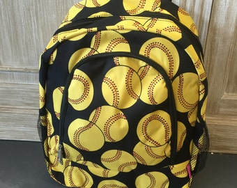 Last one! Softballs Backpack, Monogrammed Backpack, Monogrammed Bookbag, Personalized Backpack, Personalized Bookbag, Bookbag, Backpack