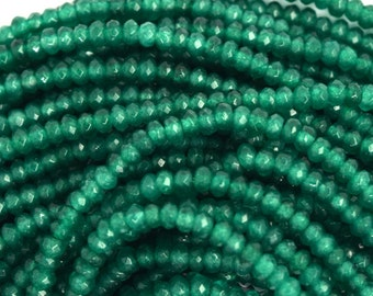 "3mm faceted emerald green jade rondelle beads 15"" strand 36506"