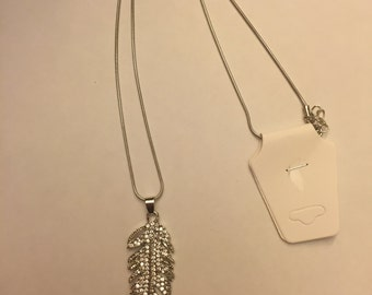 Silver feather necklace with rhinestones