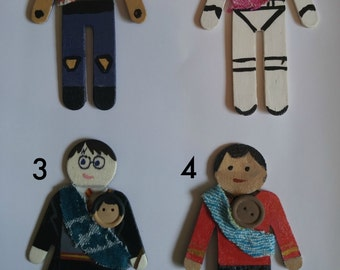 Wrap Scrap Hand Painted People Magnets