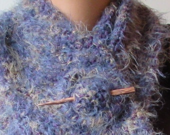 Hand Knitted Scarf wrap & Shawl pin Set – Dusky Storm Skies