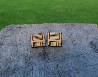 Floppy Disk Timber Earrings