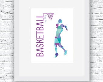 Girls Basketball Printable, Basketball Print, Basketball Wall Art, Basketball Decor, Printable Wall Art, Basketball Girls, Basketball Gift