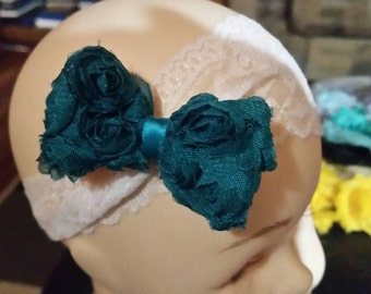 Rosette bow clip. Lace headband not included
