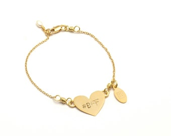 "7"" #BFF Heart Bracelet with Pearl"