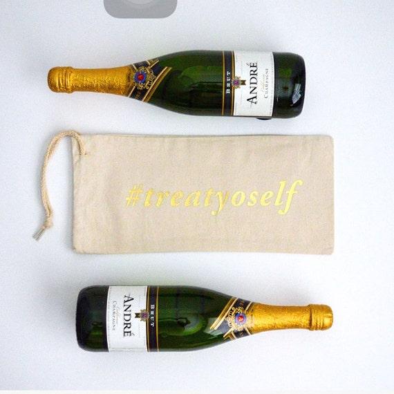 Hashtag TreatYoSelf - Canvas Drawstring Wine Bag: Gold Lettering
