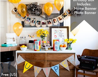 Birthday Box Package (Medium) - Photo Banner & Custom Name Banner