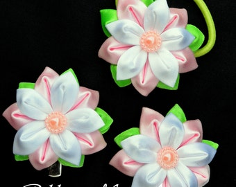 Girls Hair Clip/Ponytails holder, Set of 3 Hair Accessories, Kanzashi style flowers, White, lt pink and green