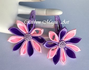 Girls Hair Clips, Set of 2 clips, Hair Accessories, Kanzashi style flowers, Pink and Purple