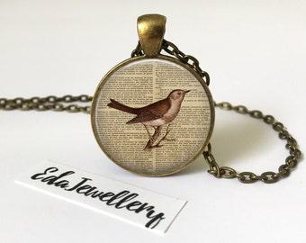 Vintage Bird Pendant, Vintage Effect Necklace, Jewellery
