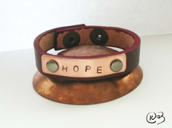Hope leather and copper bracelet. We all need some hope sometimes