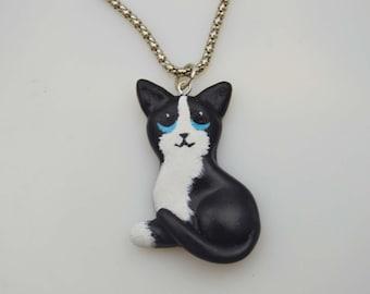 OOAK Handmade Polymer Clay Cat Pendant