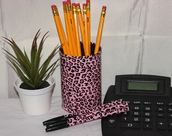Leopard print pencil can holder/pens set;Desk decor;Matching desk set;Organization;Recycled tin can;Duct tape crafts;Gifts under 10