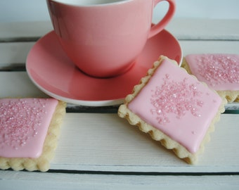 Iced Square Mini Biscuits / Pink / Edible Gift / Biscuits / Sweet Treat / Tea and Biscuits