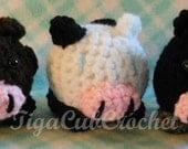 Crochet Mini Cow Moo Farm Animal Cute Amigurumi Plush Made To Order