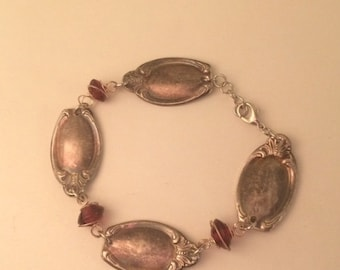 Antique Spoon End Bracelet with Wire-Wrapped Red Beads.