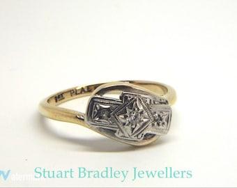 Vintage Diamond 3 Stone Twist Ring   Size L 3/4 (UK) 6 1/4 (US) Free Sizing & Shipping