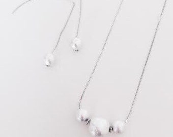 white cotton pearl necklace /silver