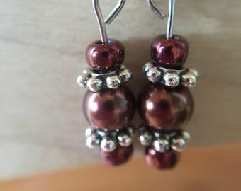 Burgundy Brown Earrings