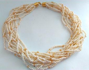 vintage, 12 strand necklace, multi strand pearl necklace, pearl necklace, vintage necklace, wedding, bride, wedding necklace, bridal