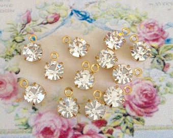 8 sparkly swarovski clear crystal drop in brass setting 6.32mm with ring 8 pieces no.brd29-1