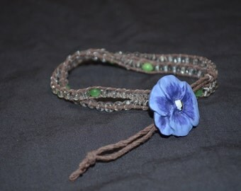Green and clear wrap bracelet