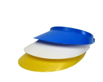 3 Women's Sun Visors - 1 each Blue, Yellow and White-Made in America