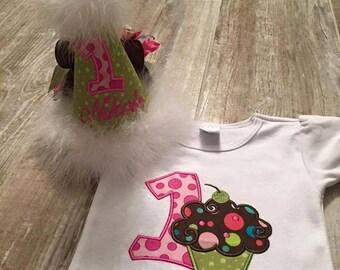 personalized BIRTHDAY CUPCAKE tee, cupcake birthday shirt, cupcake themed birthday, cupcake party, cupcakes, cupcake birthday tee, girly tee