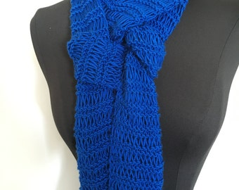 Handmade Knit Long Lacy Royal Blue Spring Fashion Scarf