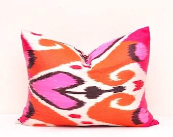 Orange Pink Ikat Pillow Cover-Ikat Pillow-Designer Ikat Pillow-Decorative Ikat pillow-Throw Ikat Pillow