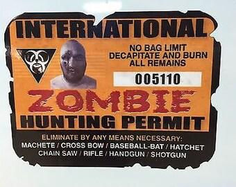 International Zombie Hunting Permit - Distressed vinyl DECAL STICKER  (0033)