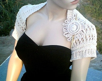 S0004 Eyelet Open Lace Ivory Cotton Bridal Shrug Hand Knit and Crochet M/L