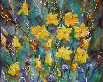 original acrylic painting, colorful flowers, wall decor,size 16 x 20 in