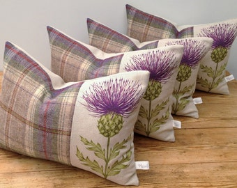Scottish Thistle Cushion, Handmade, Voyage Blair Linen/Cotton Blend in Damson, Pure Highland Wool, Tartan, Plaid, British Countryside