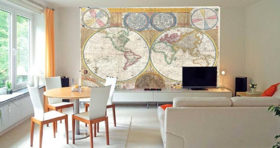 3D Wall MURAL Map Earth Pirate Ship Treasure Map By