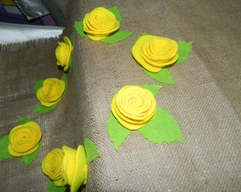 Yellow Rose Burlap Tablecloth
